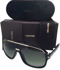 Tom Ford New TOM FORD Sunglasses ELIOTT TF 335 01P 60-10 Black & Gold Frames w/ Green Gradient Lenses