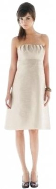 Preload https://item5.tradesy.com/images/alfred-sung-cocktail-length-dress-champagne-106879-0-0.jpg?width=400&height=650