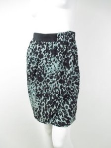 Worth Cheetah Leopard 100 Silk Faux Wrap Mini Career 0 Mini Skirt Blue, Green, Black