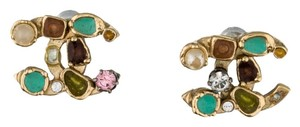 Chanel Gold-tone multicolor crystal Chanel interlocking CC stud earrings