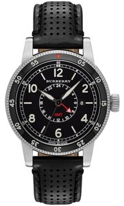 Burberry Burberry the Utilitarian GMT BU7854 Black Leather Strap Watch