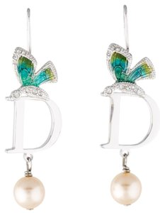 Dior Silver-tone Christian Dior faux pearl green butterfly drop earrings New