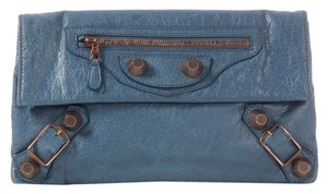 Balenciaga Blue Leather Bg.j1120.09 Grgh Giant Clutch