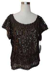 Laundry by Shelli Segal Top Black sequin over flesh