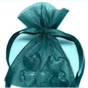 45 Dark Teal High Sheen Silk Organza Wedding Favor Bags