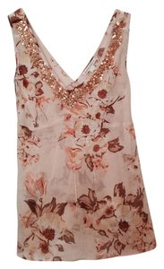 Banana Republic Top Tan Multi with Gold embellisment