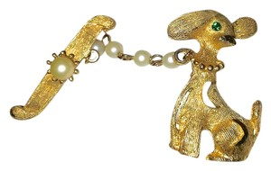 Rare Antique Dog Gold Brooch Pearl Emerald, Vintage Collectable