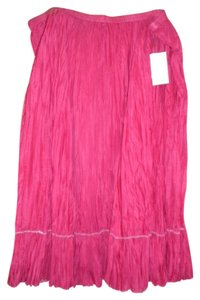 Coldwater Creek Maxi Silk Broomstick Crinkled Maxi Skirt RED