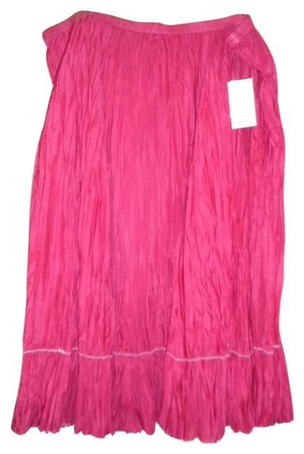 Coldwater Creek Silk Broomstick Crinkled Fully Lined Maxi Skirt RED