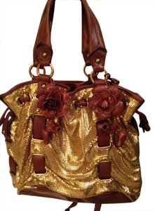 Cole Haan Vintage Sequin Leather Satchel in Chocolate Brown/Gold
