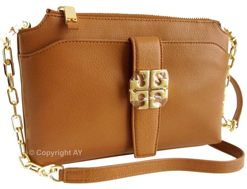 c9a4aa5a251c Tory Burch Meyer Chain Pebbled Bark Brown Leather Cross Body Bag ...