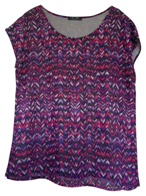 Item - Purple Aztec Scoop Neck Capped Sleeves Workwear Blouse Size 12 (L)
