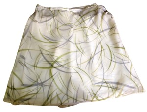 Ann Taylor Flower White Green Black Skirt Multi