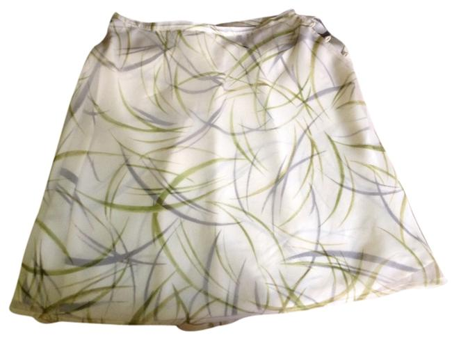 Ann Taylor Flower White Green Black Silky Skirt Multi