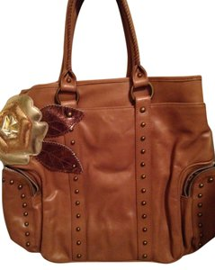 Beverly Feldman Collector Leather Studded Satchel in Dark Tan