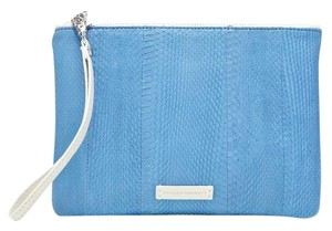 Hayden-Harnett Leather Watersnake Maya Nwt Blue and White Clutch