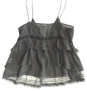 Les Petites Collection Silk Tiered Ruffle Camisole Blouse Velvet Lace Top black
