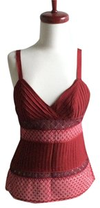 Catherine Malandrino Wool Eyelet Sleeveless Red Top maroon, pink