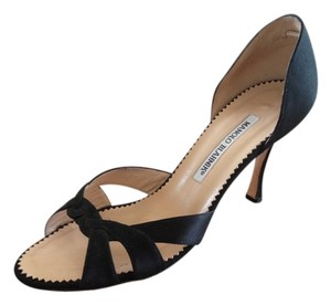 Manolo Blahnik Black Satin Formal