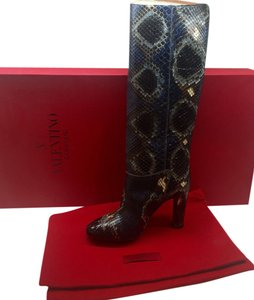 Valentino Python Snake Made In Italy Nordstroms Blue Boots
