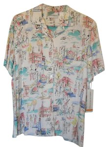 Alfred Dunner Top WHITE W MULTI TRAVEL PRINT