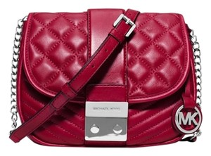 Michael Kors New Leather Red Silver Cherry Messenger Bag