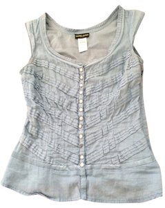 Guess Sky Ruffles Light Feminine Top Blue