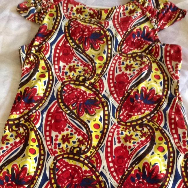 Nine West Stretchy Top Red, Orange, Blue, Yellow