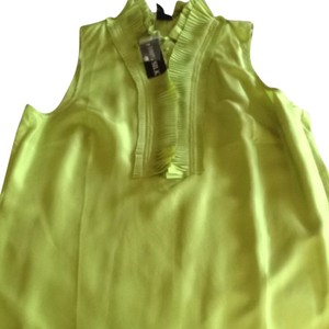 Willi Smith Sleeveless Ruffles Pleated Button New Top Bright Green