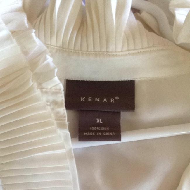 Kenar Sleeveless Pleated Ruffles Top Cream
