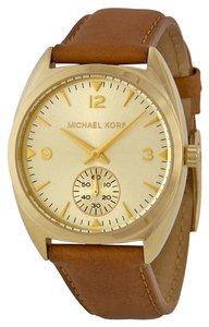 Michael Kors Brown Leather Strap Gold Tone Designer Watch