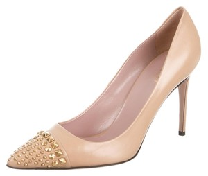 Gucci Metallic Gold Gold Hardware Beige Pumps
