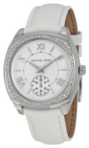 Michael Kors Crystal Embellished Silver White Leather Strap Ladies Designer Watch