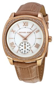 Michael Kors Crystal Embellished Rose Gold with Tan Embossed Leather Strap Designer Watch