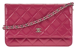 Chanel CHANEL Wallet On A Chain Woc Pink Patent Quilted Leather Silver Hardware Shw Handbag Cc Logo Cross Body Bag
