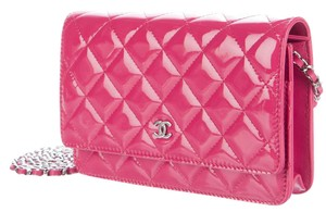 Chanel Wallet On A Chain WOC Pink Patent Quilted CC Logo Cross Body Mini Bag