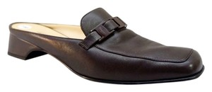 Salvatore Ferragamo Nappa Leather Square Toe 8c Brown Mules