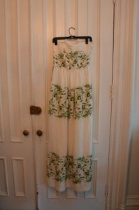 BHLDN Ivory with Green and Gold Silk Linen Shell. Silk Charmeuse Lining. Frondescence Casual Wedding Dress Size 2 (XS)