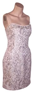 Rickie Freeman for T. J. Nites Lace Silver Spaghetti Strap Dress
