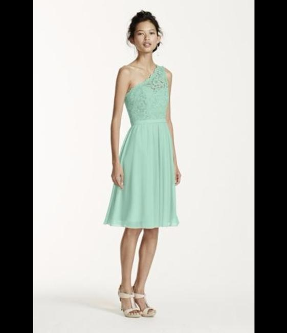 Item - Mint Lace 52% Nylon/48% Rayon. Mesh Polyester. Short One Shoulder Corded Formal Bridesmaid/Mob Dress Size 8 (M)