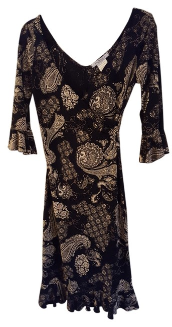 Item - Black/White Paisley Design Made In U.s.a. Knee Length Night Out Dress Size 10 (M)