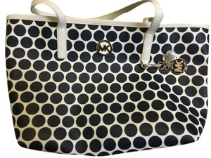Michael Kors Kiki Dots Tote in Navy and White