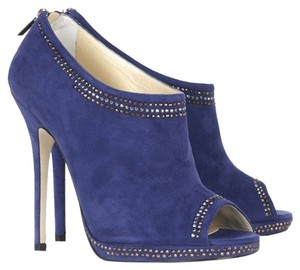 Jimmy Choo Suede Gold Gold Hardware Blue Boots