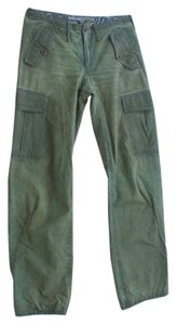 Rogan Brass Miliatary Cotton Distressed Cargo Pants Green