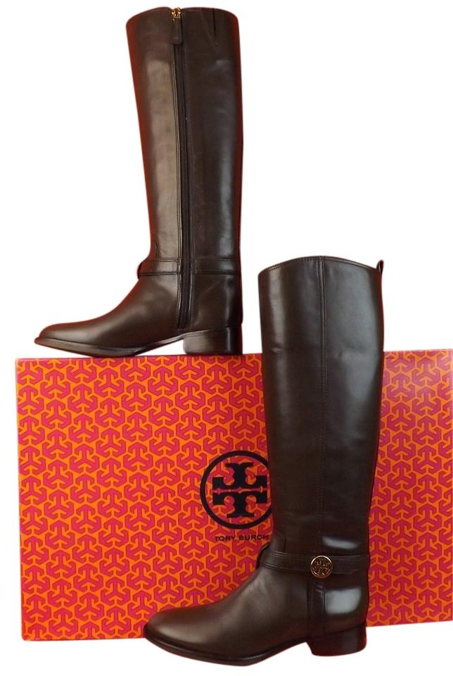 c8ee1930b Tory Burch Brown Bristol Coconut Leather Gold Reva Tall Harness Riding Boots  Booties