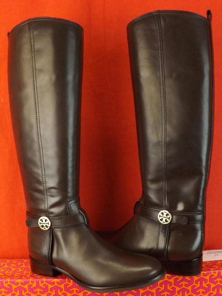 64c5322d1 Tory Burch Brown Bristol Coconut Leather Gold Reva Tall Harness Riding Boots  Booties Size US 9.5 Regular (M