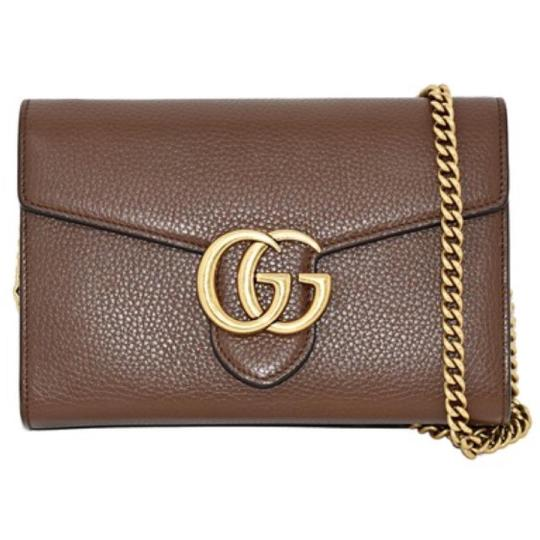 a0b56e007843 Gucci Marmont Mini Chain Wallet. Gucci Marmont Chain Wallet Gg Mini Nut  Brown Leather Cross Body Bag - Tradesy