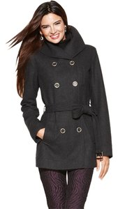 Nine West Double-breasted Wool Belted Pea Pea Coat