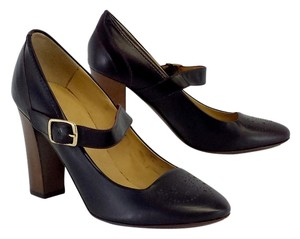 Bettye Muller Dark Brown Leather Mary Janes Pumps
