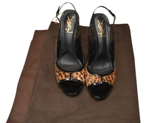 Saint Laurent Leopard / Black Sandals
